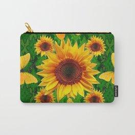 Green Yellow Butterflies Sunflowers Flowers  Art Carry-All Pouch