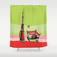 wiz khalifa Shower Curtains featuring Abra by the Burj Khalifa by Dubai Doodles