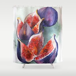 Fig Watercolor Fruits Shower Curtain
