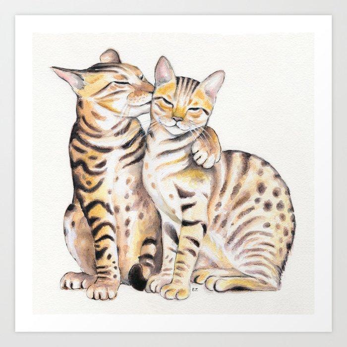 Bengal Cats Love Watercolor Ink Art Art Print by eveystudios