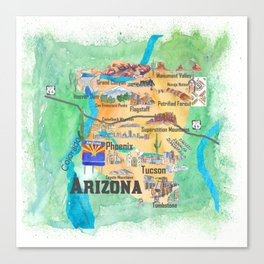 USA Arizona State Travel Poster Illustrated Art Map Canvas Print