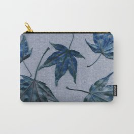 Japanese maple leaves - blue on faded lavender Carry-All Pouch