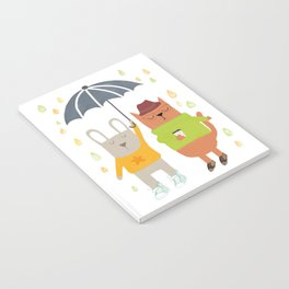 Hipster bunny and cat Notebook