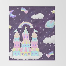 Dreamy Cute Space Castle Throw Blanket