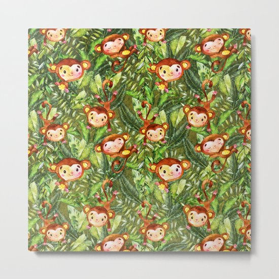 Monkey Jungle Fun-Monkeys in Palm Leaves Forest Metal Print