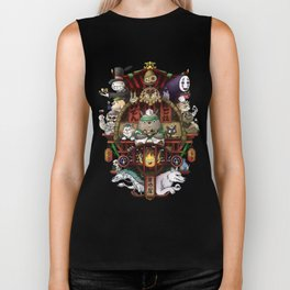Ghibli Izakaya Print Coloured Biker Tank