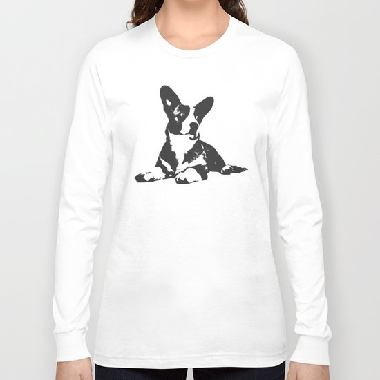 PURPLE STRIPE CORGI Long Sleeve T-shirt