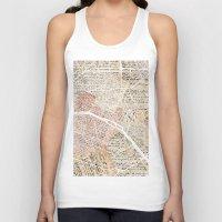 paris map Tank Tops featuring PARIS by Mapsland