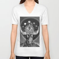 taurus V-neck T-shirts featuring TAURUS by Julia Lillard Art