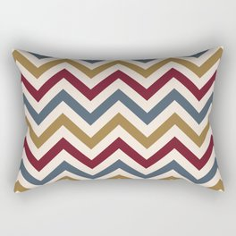 Funky Zigzag Pattern Gold Red Blue Cream Rectangular Pillow