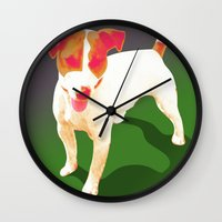 jack russell Wall Clocks featuring Jack Russell by Ken Surman