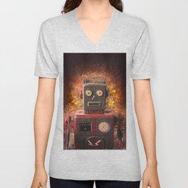 Robot on fire by Brian Vegas Unisex V-Neck