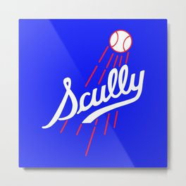 Vin Scully - Dodgers Logo Themed Metal Print