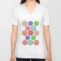 quilt V-neck T-shirts featuring SWEET QUILT by Noa Raiter Hatzbani