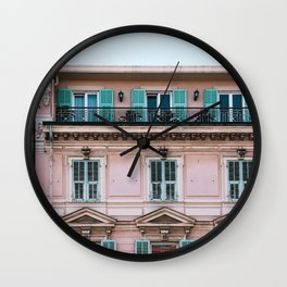Old City San Remo | ITaly | Flower Riviera, coast. Light blue-pink travel photography poster Wall Clock