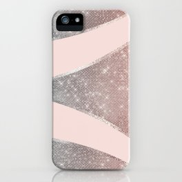 Glamorous Sparkly Silver Rose Gold Glitter Geo iPhone Case