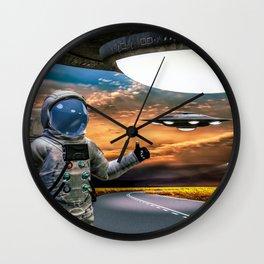 Hitchhiking Around The Universe Wall Clock