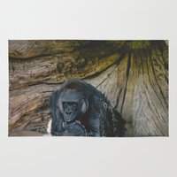 gorilla Area & Throw Rugs featuring Gorilla by Retro Love Photography
