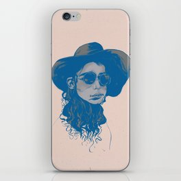 Woman in Hat and Sunglasses iPhone Skin