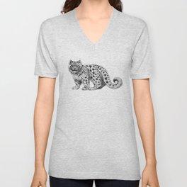 Snow Leopard cub g142 Unisex V-Neck