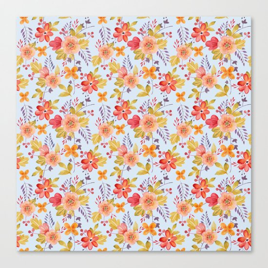 Flower Watercolor Pattern Canvas Print