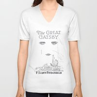 great gatsby V-neck T-shirts featuring The Great Gatsby by S. L. Fina