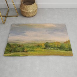 Scenic Autumn Late Afternoon in Vermont Nature Art Landscape Oil Painting Rug