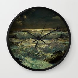 The Longships Light nautical landscape painting by Julius Olsson Wall Clock