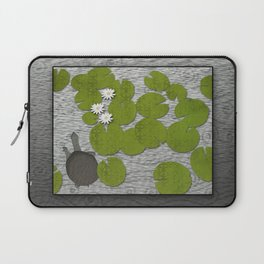Water lilies with Florida Soft-shell Turtle Laptop Sleeve