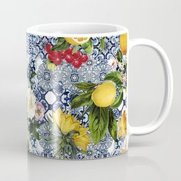 Italian romantic vintage lemons flowers tiles Coffee Mug