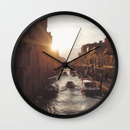 BOAT - STREETS - RIVER - TOWN - LIFE - CULTURE - PHOTOGRAPHY Wall Clock