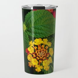 Red and Yellow Lantana Flower and Green Leaves Travel Mug