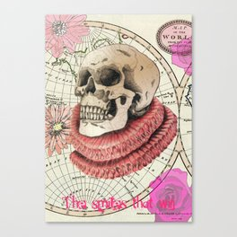 Skull print with Tudor Ruff and map illustration Canvas Print