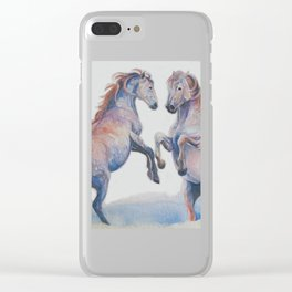 Fighting Stallions Wild Horse Clear iPhone Case