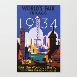 1934 Chicago World's Fair Travel Poster Canvas Print