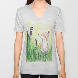 Fox with Butterflies Unisex V-Neck