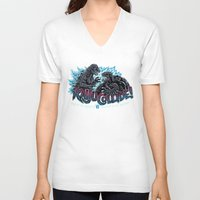 kaiju V-neck T-shirts featuring Kaiju Collide by Austin James