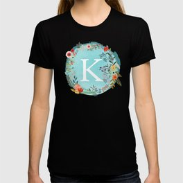 Personalized Monogram Initial Letter K Blue Watercolor Flower Wreath Artwork T-shirt