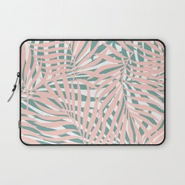 Tropical Green and Pink, Summer Palm Leaves Pattern Laptop Sleeve