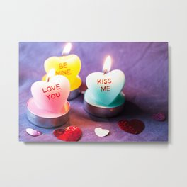Valentines Candles Photography Print Metal Print