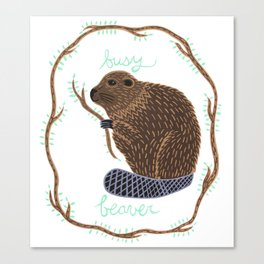 Busy Beaver Canvas Print