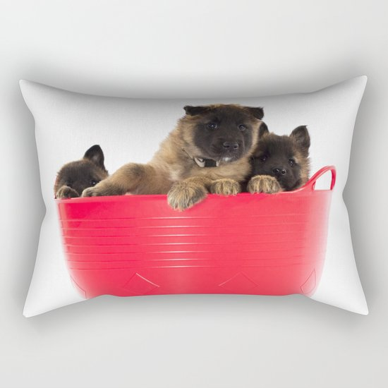Three puppies in red laundry basket Rectangular Pillow