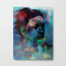 Blue Rainbow Pop Art Portrait Vector Metal Print