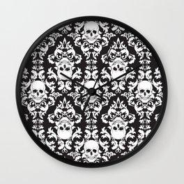 Skull Damask Wall Clock