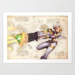 Prestige edition caitlyn arcade skin artwork adc da vinci style sketch Art Print