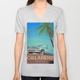 Orlando Florida vintage travel poster, Unisex V-Neck