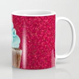 Cupcake Love | Aqua Swirl on Red Sparkle Coffee Mug