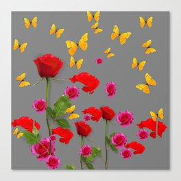 RED &  FUCHSIA PINK ROSES YELLOW BUTTERFLIES ABSTRACT Canvas Print
