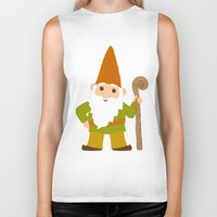 gnome Biker Tanks featuring gnome sweet gnome by Elephant Trunk Studio