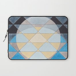 Triangle Pattern No. 14 Circles in Black, Blue and Yellow Laptop Sleeve